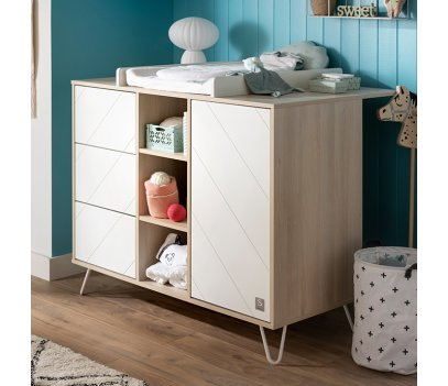 COMMODE 1 PORTE 3 TIROIRS ET 3 NICHES HAPPY