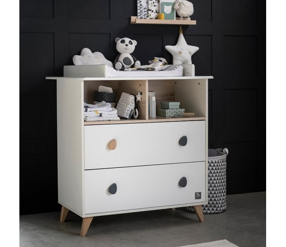 COMMODE 2 TIROIRS ET 2 NICHES GOUTTE BOUTONS GOUTTE OSLO