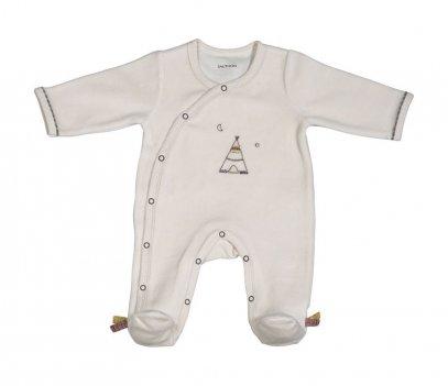 Pyjama velours bébé beige taille naissance à 3 mois Timouki