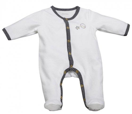 PYJAMA VELOURS BLANC GRIS BABYFANTAILLE NAISSANCE BABYFAN