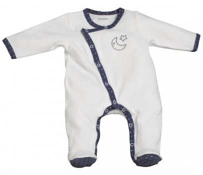 PYJAMA VELOURS BLANC MERLINTAILLE NAISSANCE MERLIN